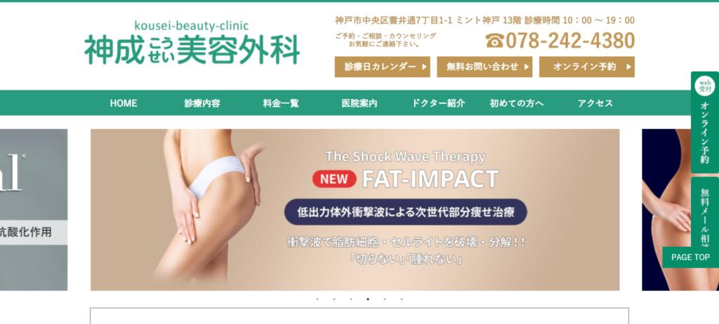 神成美容外科のホームページ画像